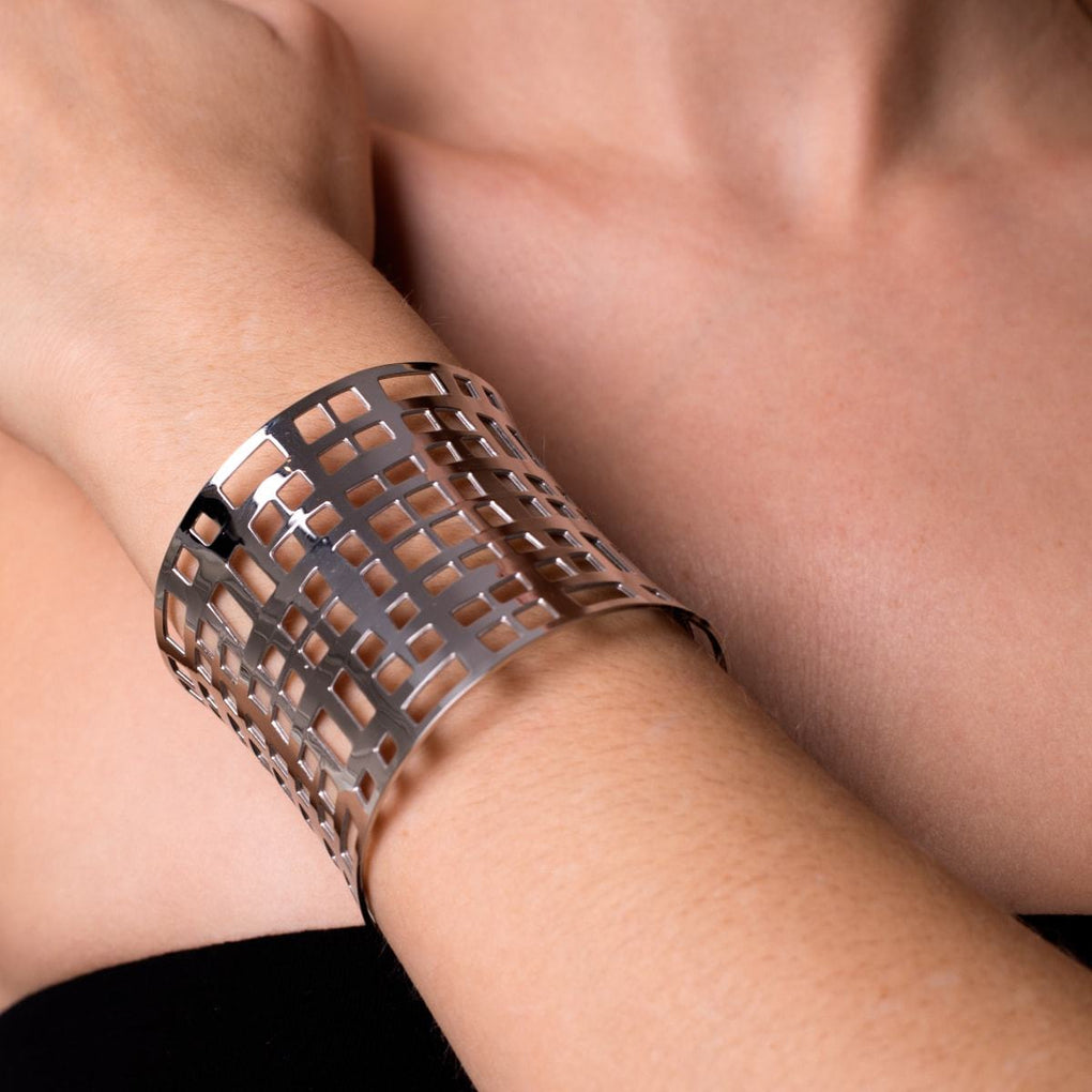 Silver | Lattice | Laser Cut Cuff