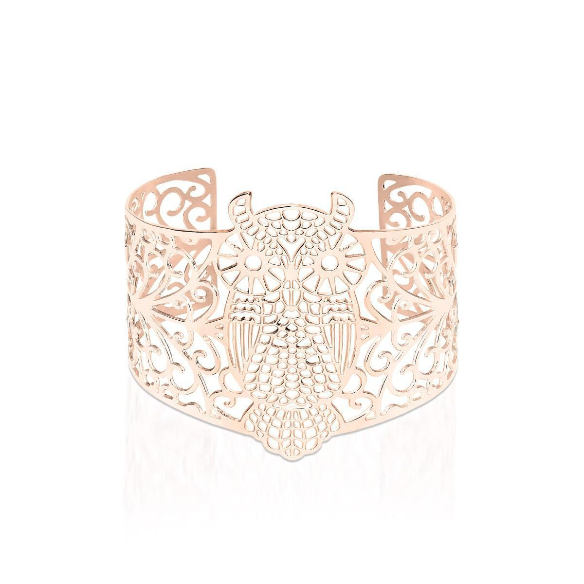 18k Rose Gold | Owl | Laser Cut Cuff