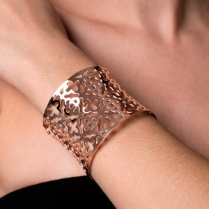 18k Rose Gold | Clover | Laser Cut Cuff