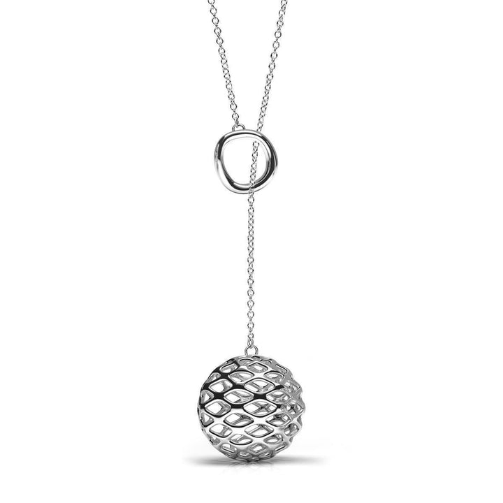 The GRID Lariat Necklace | Platinum Sterling