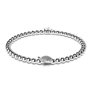 Tortuga | 18k White Gold Vermeil | .925 Sterling Silver | Cubic Zirconia Crystal Sea Turtle Bracelet