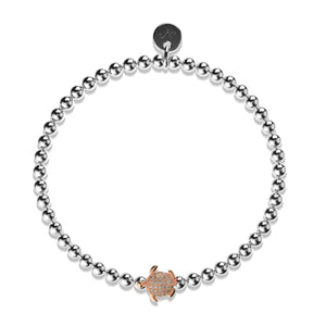 Tortuga | Silver & 18k Rose Gold | Crystal Sea Turtle Bracelet