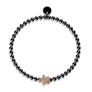 Tortuga | Gunmetal & 18k Rose Gold | Crystal Sea Turtle Bracelet