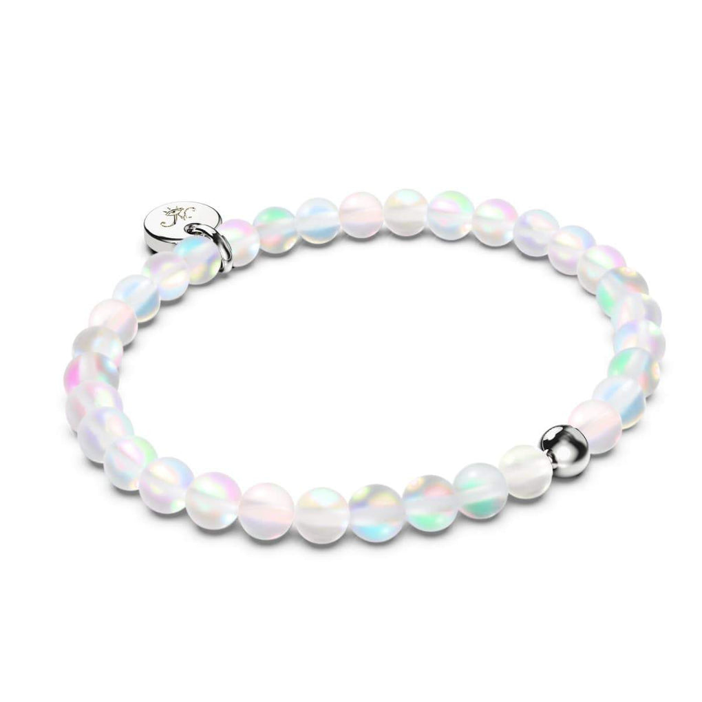 Rainbow White & Grey | White Gold Vermeil | Twin Mermaid Glass Bracelet Gift Set