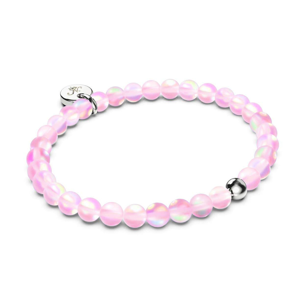 Pink .925 Sterling Silver Mermaid Glass Bracelet