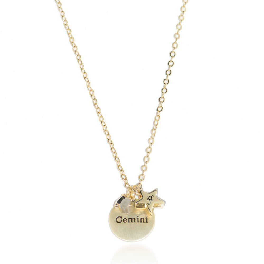 Gemini gold zodiac crystal aquamarine necklace 1