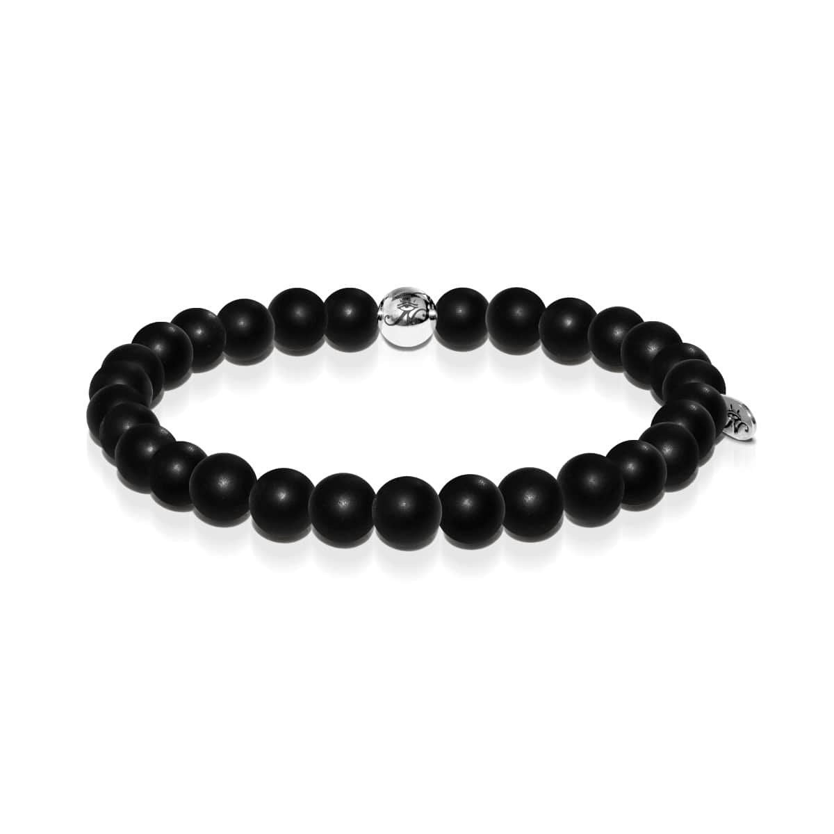 Men's | Silver | Matte Black Bead Bracelet