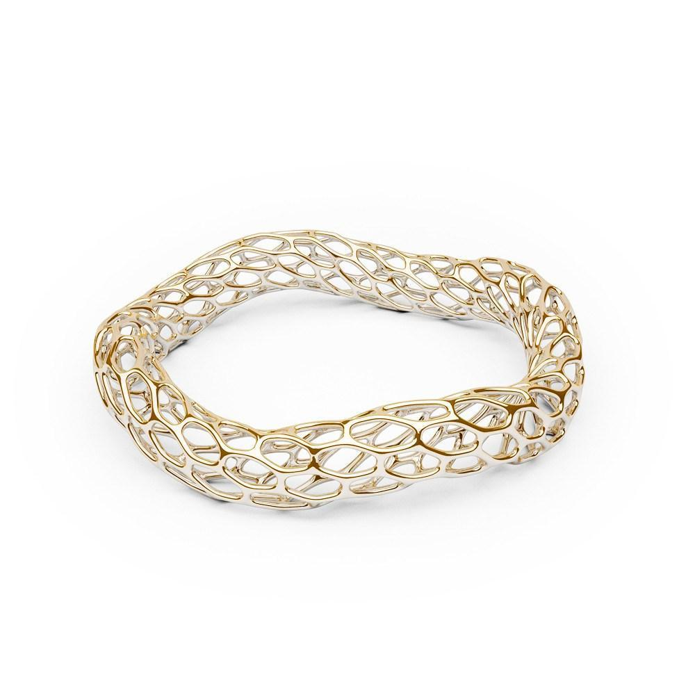 The HIVE Bangle | Double Wave | 14k Gold Sterling