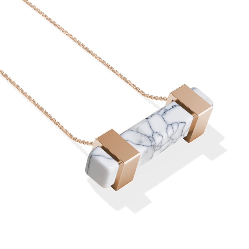 Howlite | Rose Gold | Gemstone Bar Necklace