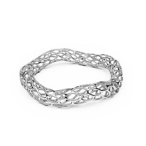 The HIVE Bangle | Double Wave | Platinum Sterling