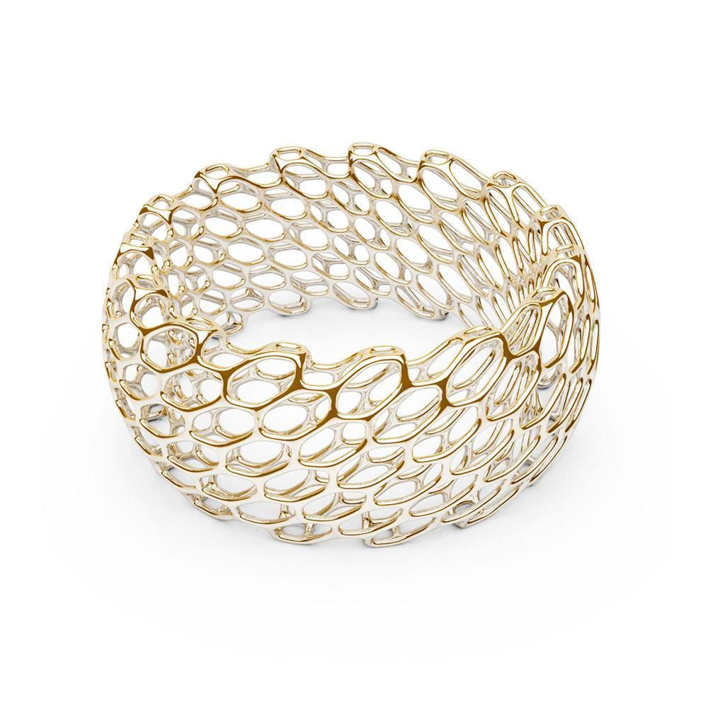 The HIVE Bangle | Double Wide | 14k Gold Sterling