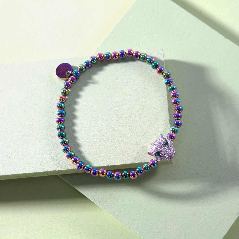 Panthera | Unicorn Steel | Crystal Cat Bracelet