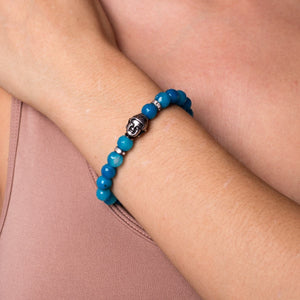 Arya | White Gold Buddha | Blue Faceted Agate Bracelet