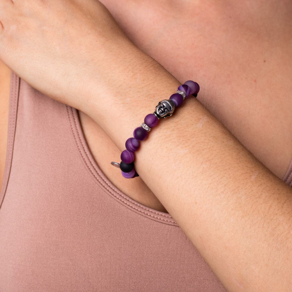 Feng Shui | White Gold Buddha | Matte Purple Striped Agate Bracelet