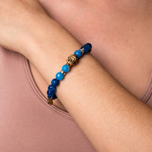 Mahayana | Gold Buddha | Blue Striped Agate Bracelet