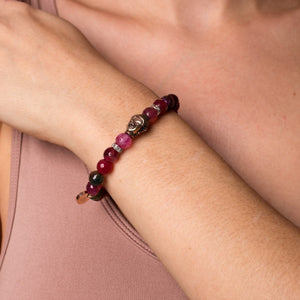 Tantra | Rose Gold Buddha | Multi-Color Faceted Agate Bracelet
