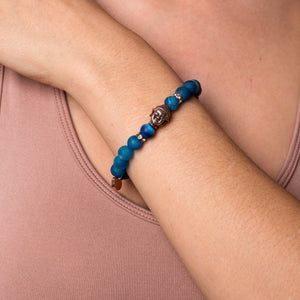 Tarot | Rose Gold Buddha | Matte Blue Striped Agate Bracelet