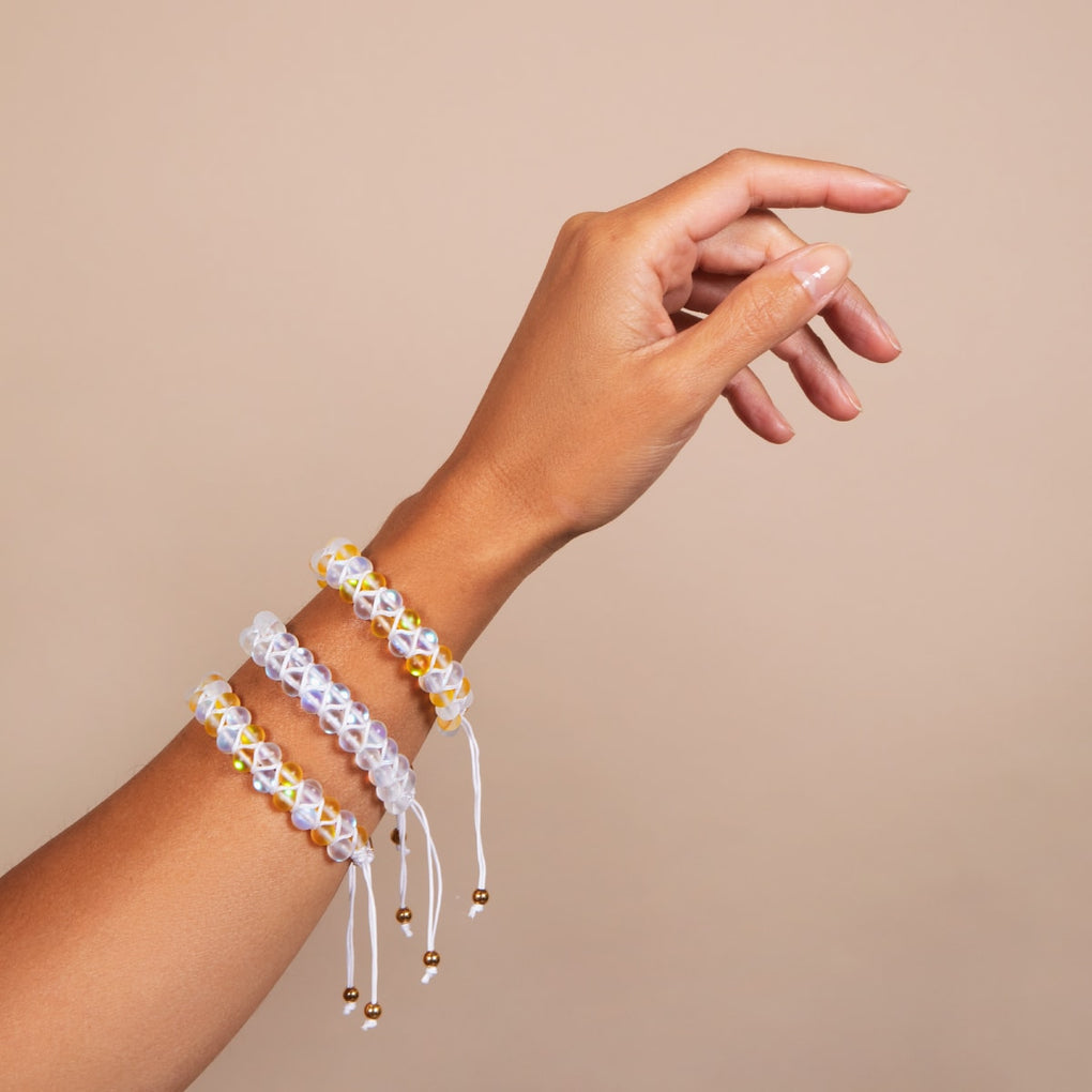 Honeysuckle and White | Gold | Double Mermaid Glass Bracelet