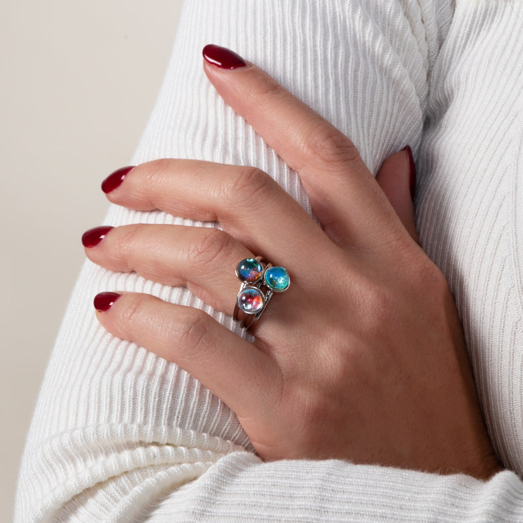 Rainbow Supernova | .925 Sterling Silver | Galaxy Glass Ring