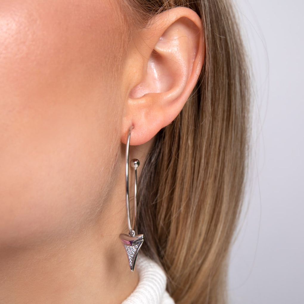Sharktooth Hoop Earrings by Lauren Howe | .925 Sterling Silver | Crystal