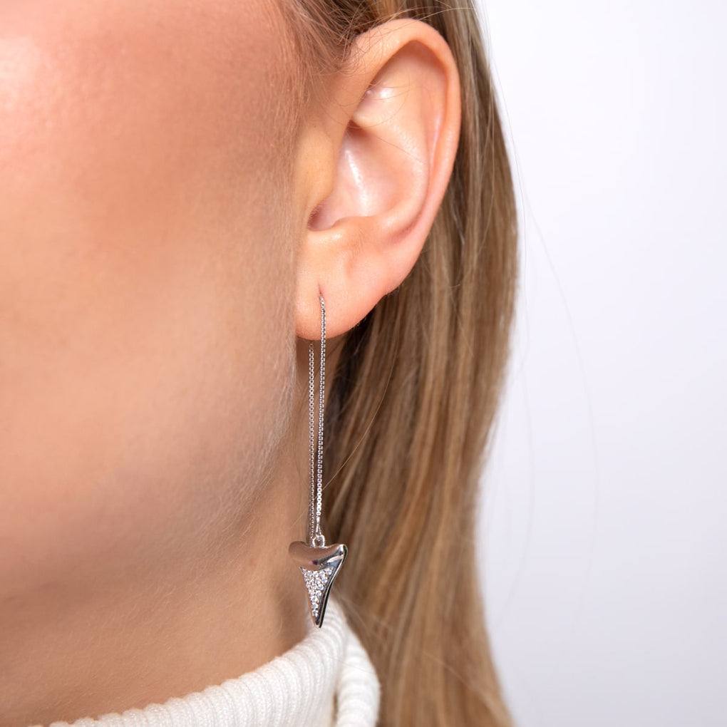 Sharktooth Chain Drop Threader Earrings by Lauren Howe | .925 Sterling Silver | Crystal