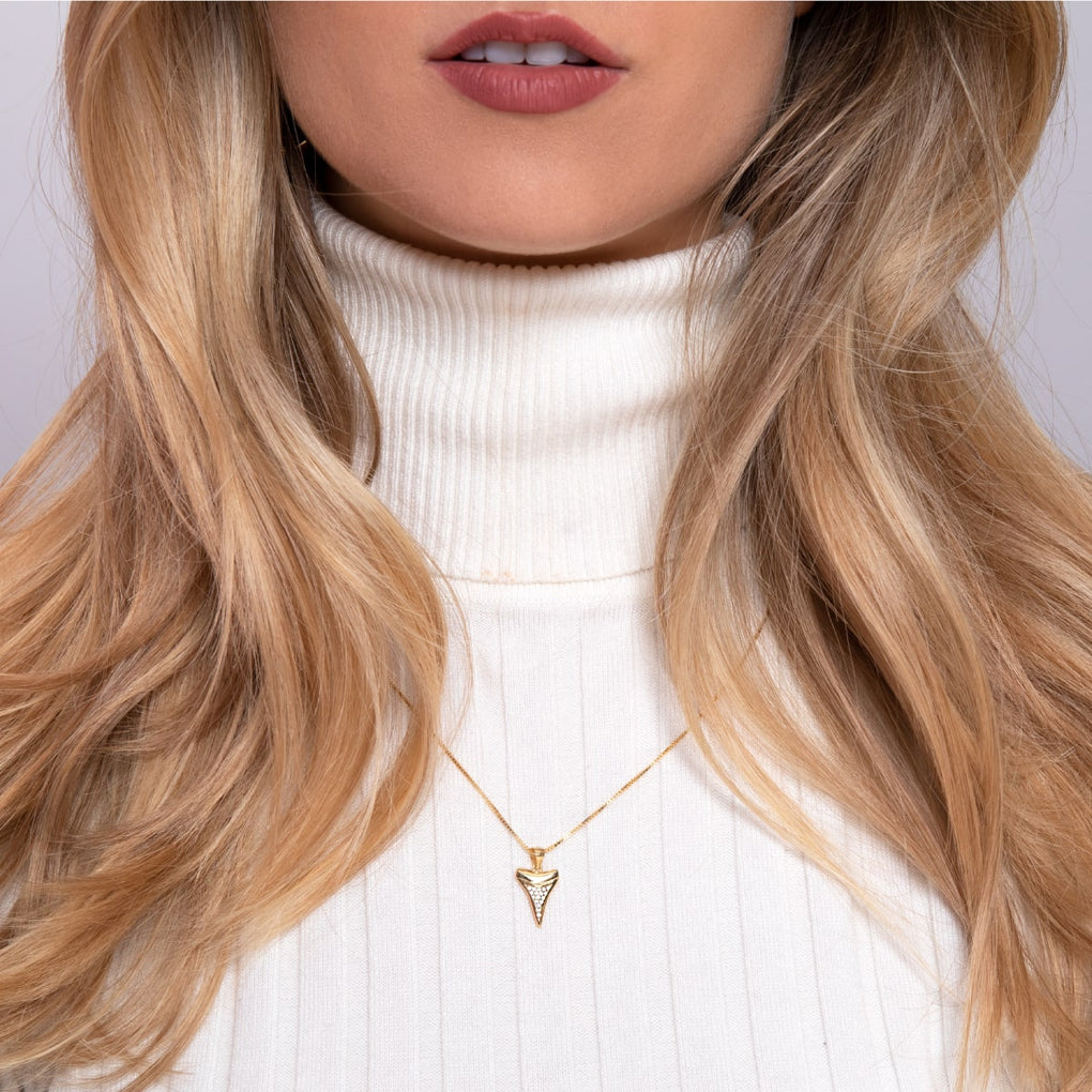 Sharktooth Infinity Clasp Necklace by Lauren Howe | Gold | Crystal