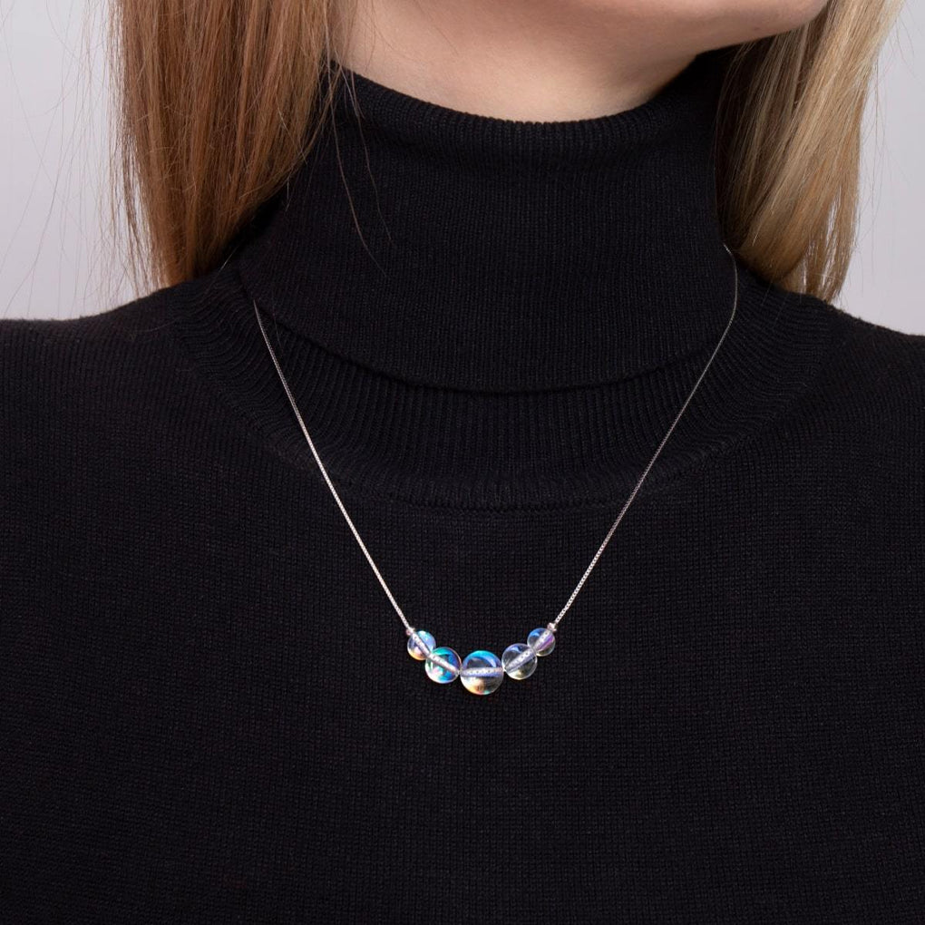 Rainbow Supernova | .925 Sterling Silver | Galaxy Glass Infinity Clasp Necklace
