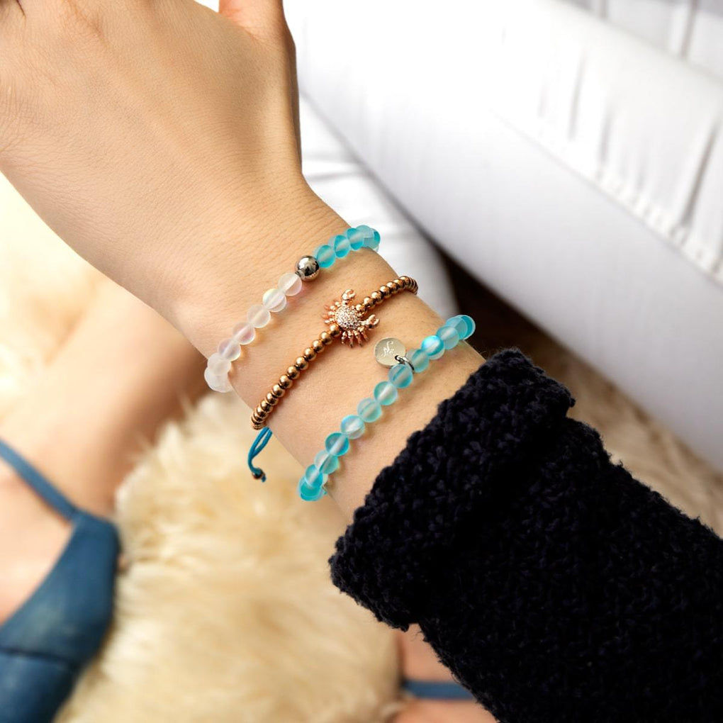 Crystal Sea Crab | 18k Rose Gold | Blue | Macrame Charmballa Bracelet