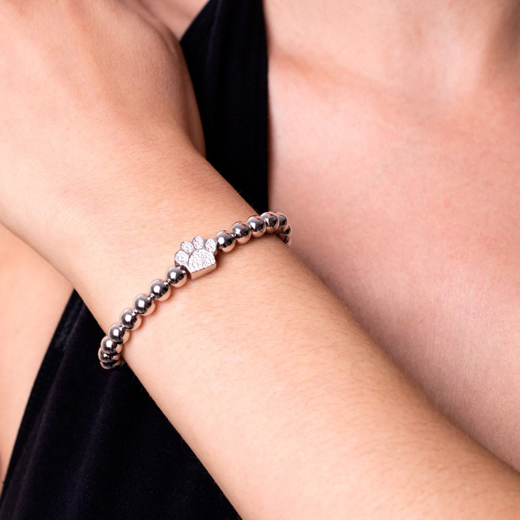Paw | .925 Sterling Silver | Cubic Zirconia Crystal Pup Print Bracelet