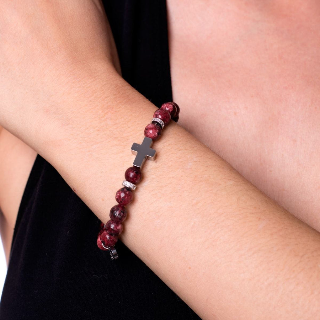 St. Padre Pio | White Gold Cross | Mulberry Agate Bracelet