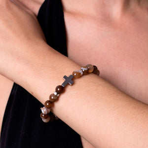 St. Mary Magdalene | White Gold Cross | Grey Striped Agate Bracelet