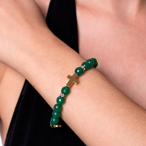 St. Teresa of Avila | Gold Cross | Green Agate Bracelet