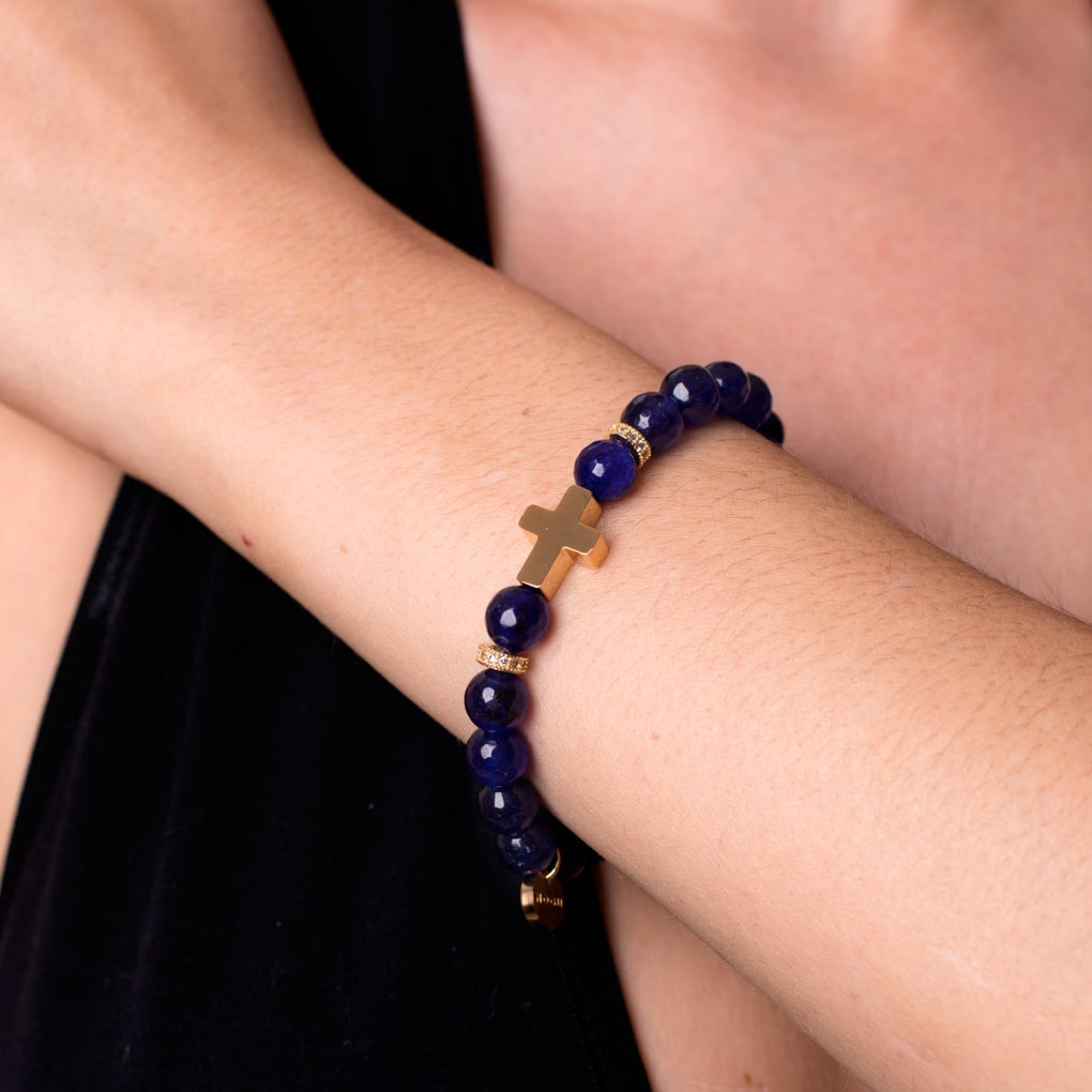 St. Bernadette | Gold Cross | Royal Lapis Jade Bracelet