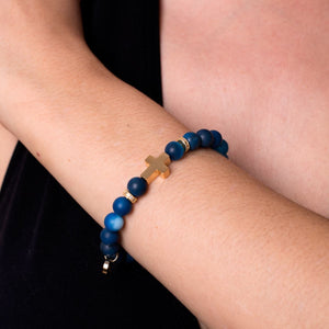 St. Monica of Hippo | Gold Cross | Matte Blue Striped Agate Bracelet