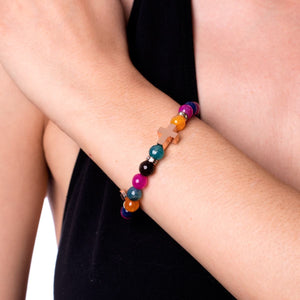 St. Joseph  | Rose Gold Cross | Multi-Color Faceted Jasper Bracelet
