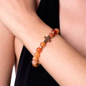 St. Peter | Rose Gold Cross | Natural Red Agate Bracelet