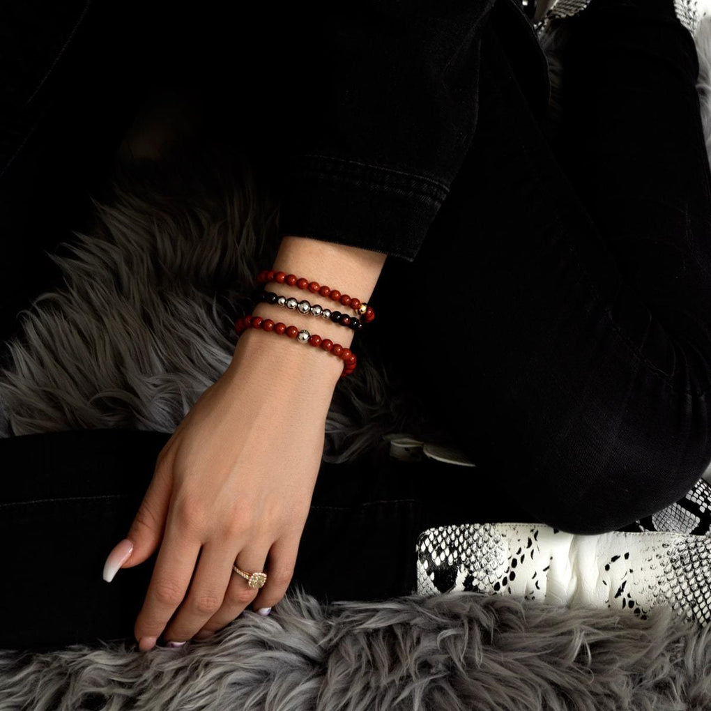 Red Turquoise | 18k White Gold Vermeil | .925 Sterling Silver | Healing Stone Bead Bracelet