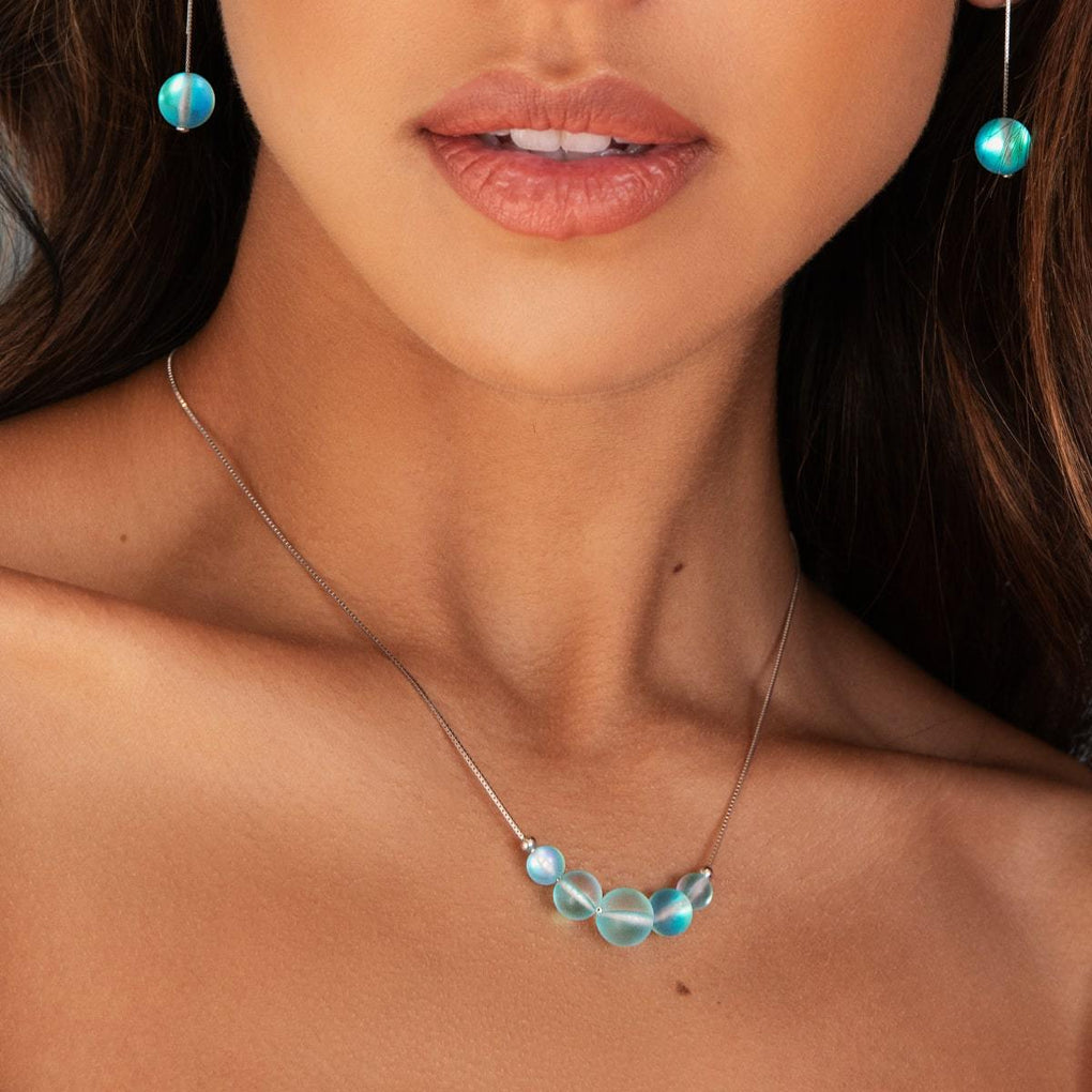 Aquamarine | .925 Sterling Silver | Mermaid Glass Infinity Clasp Necklace