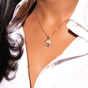 Aruba | White Gold Vermeil | Crystal Flamingo Charm Necklace