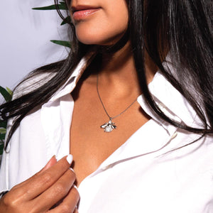 Queen | White Gold Vermeil | Crystal Honeybee Charm Necklace