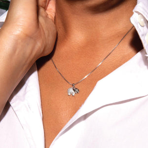 Sanctuary | White Gold Vermeil | Crystal Elephant Charm Necklace