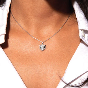 Meow | White Gold Vermeil | Crystal Cat Charm Necklace