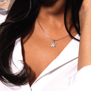 Flower Power | White Gold Vermeil | Crystal Charm Necklace
