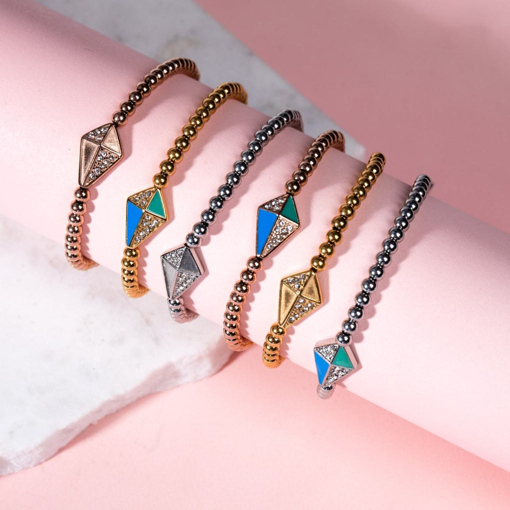 Kite | 18k Rose Gold | Enamel | Crystal Charm Bracelet