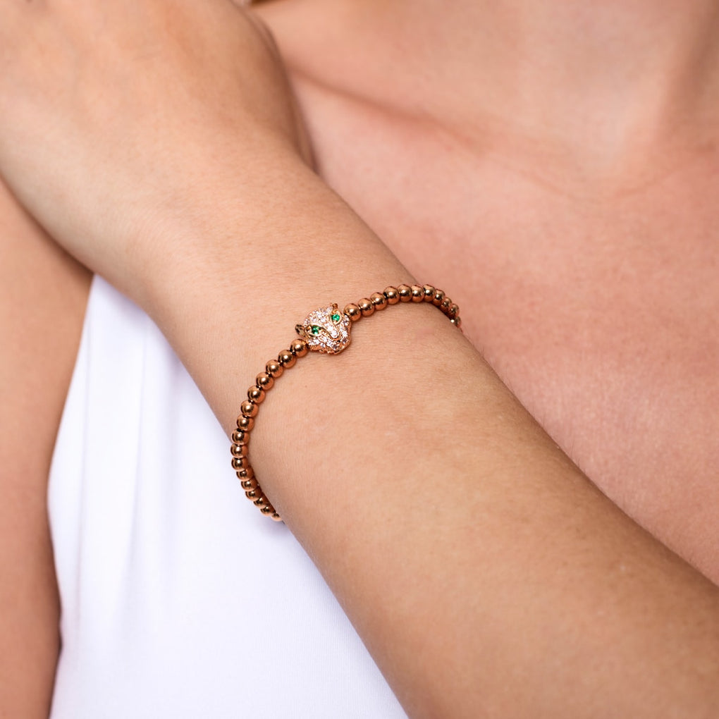 Panthera | 18k Rose Gold | Crystal Cat Bracelet