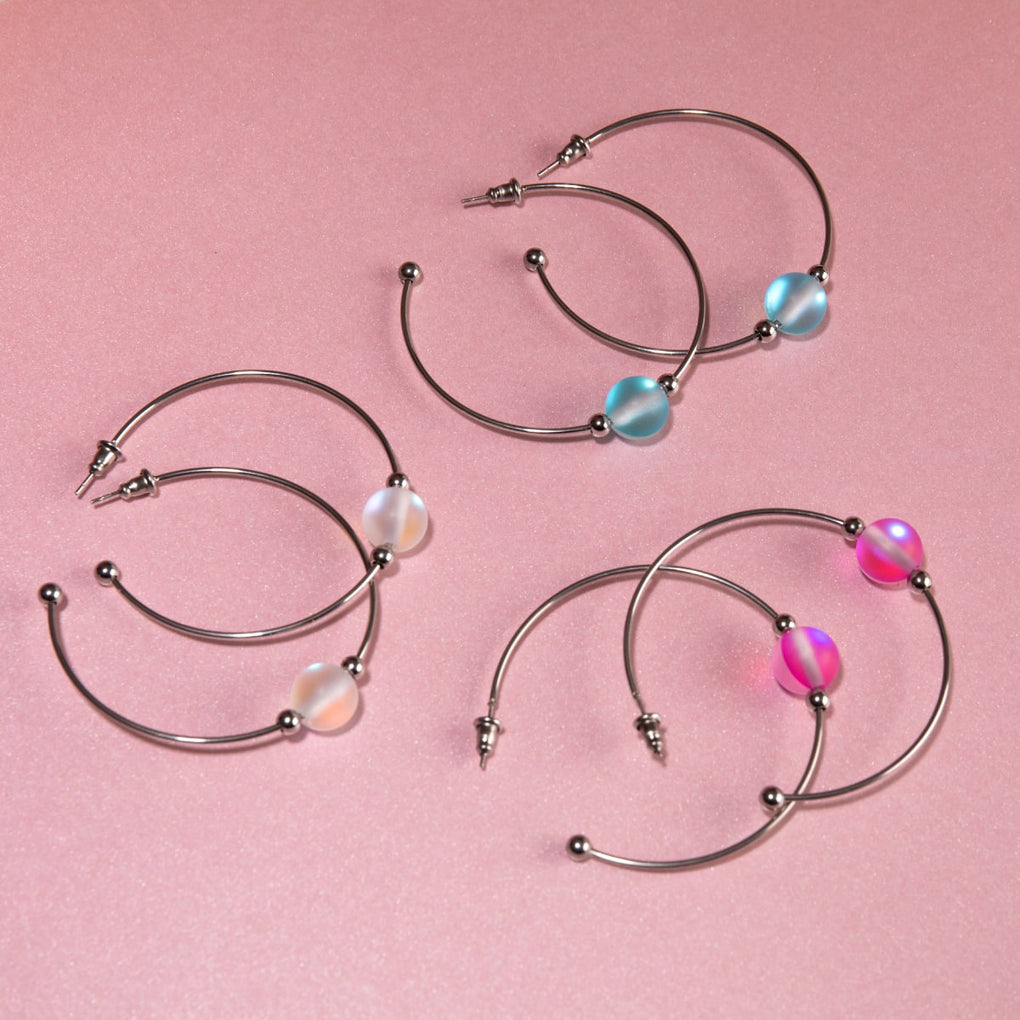 Rainbow White | Silver | Mermaid Glass Hoop Earrings