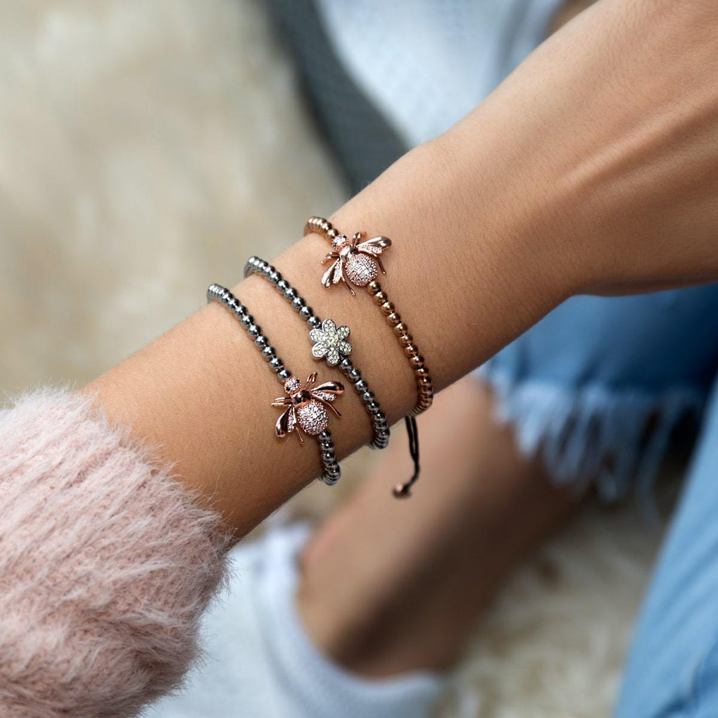 Queen | 18k Rose Gold | Crystal Honeybee Macrame Charm Bracelet
