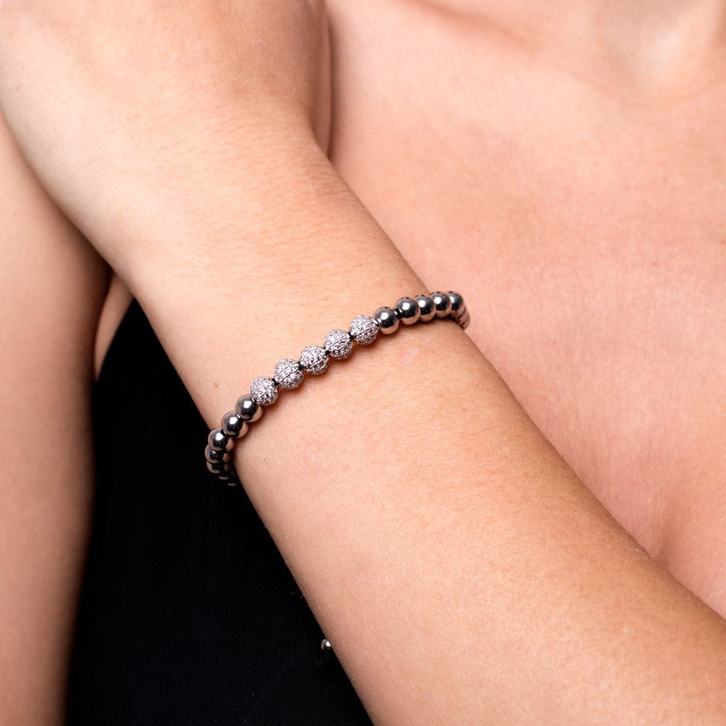 Silver | Crystal Pave Ball Bracelet | Black