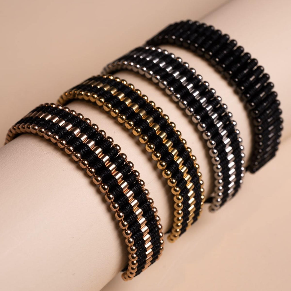 Amici | Silver | Black | Friendship Bracelet