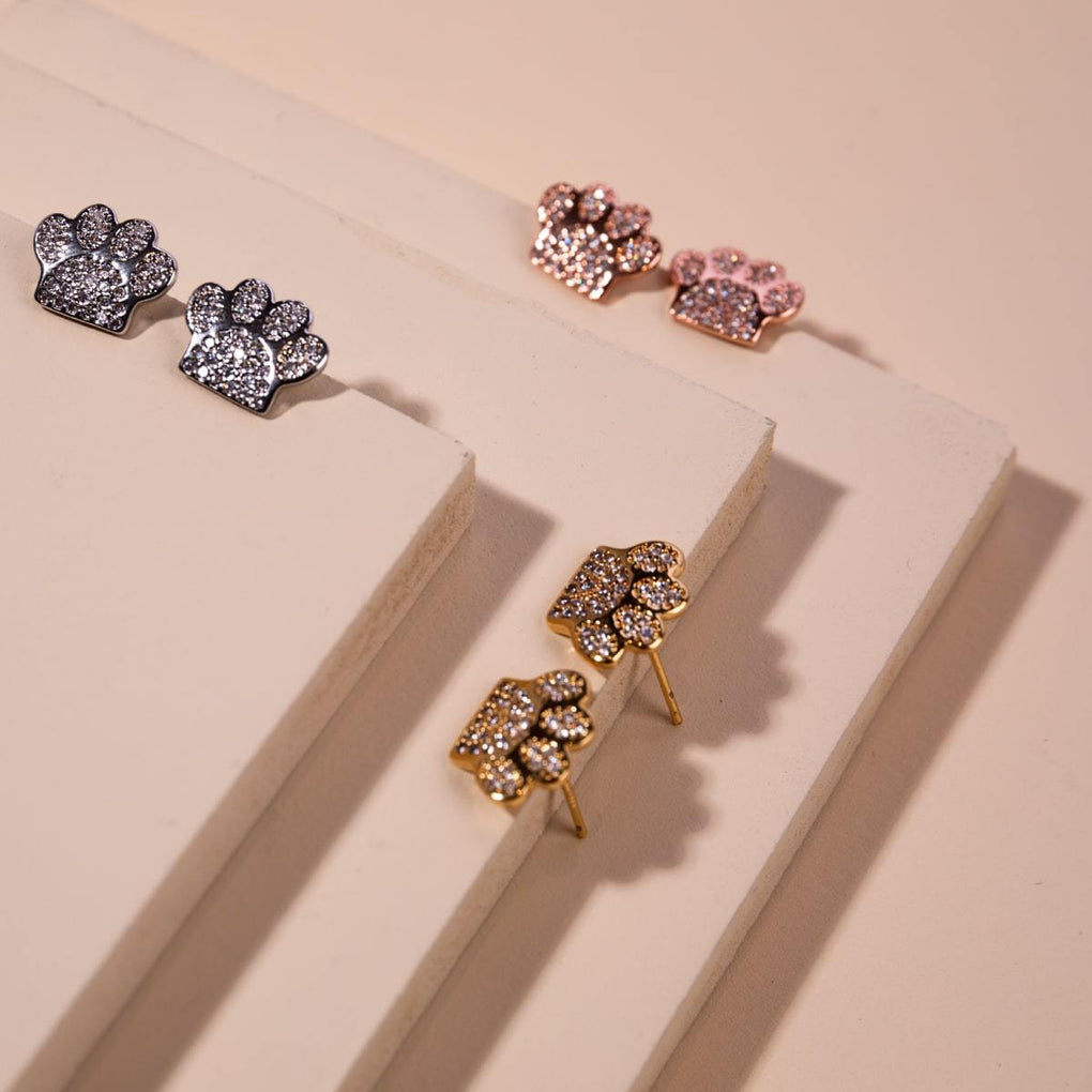 Paw | 18k White Gold Vermeil | .925 Sterling Silver | Cubic Zirconia Crystal Pup Print Earrings